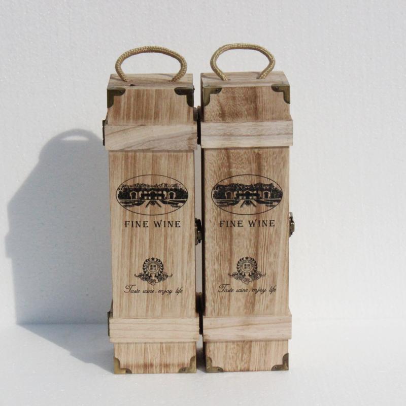 红酒礼盒木头盒子单支铁包角复古