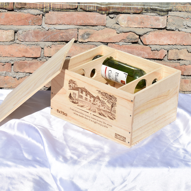 6瓶装一盒红酒包装仿进口木头箱
