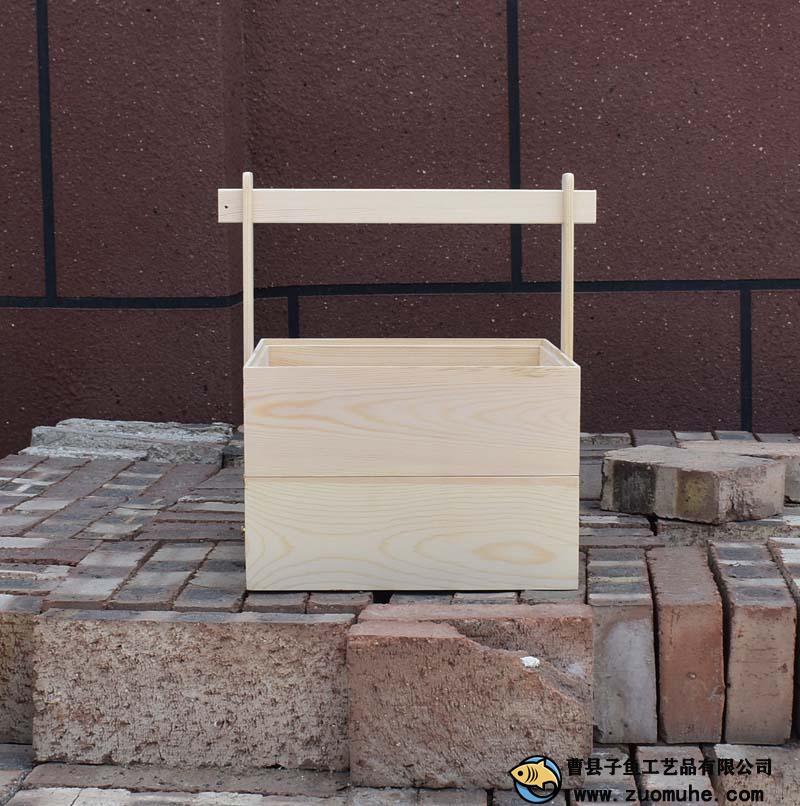 手提式伴手礼提盒 提篮端午节日木盒